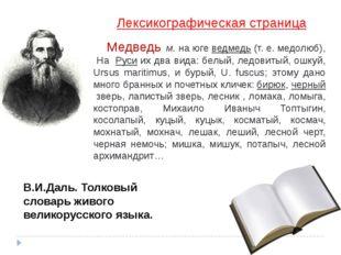 Лексикографическая страница Медведь м. на югеведмедь(т. е. медолюб), На Ру