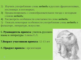2) Изучить употребление слова медведь в русских фразеологизмах, пословицах и