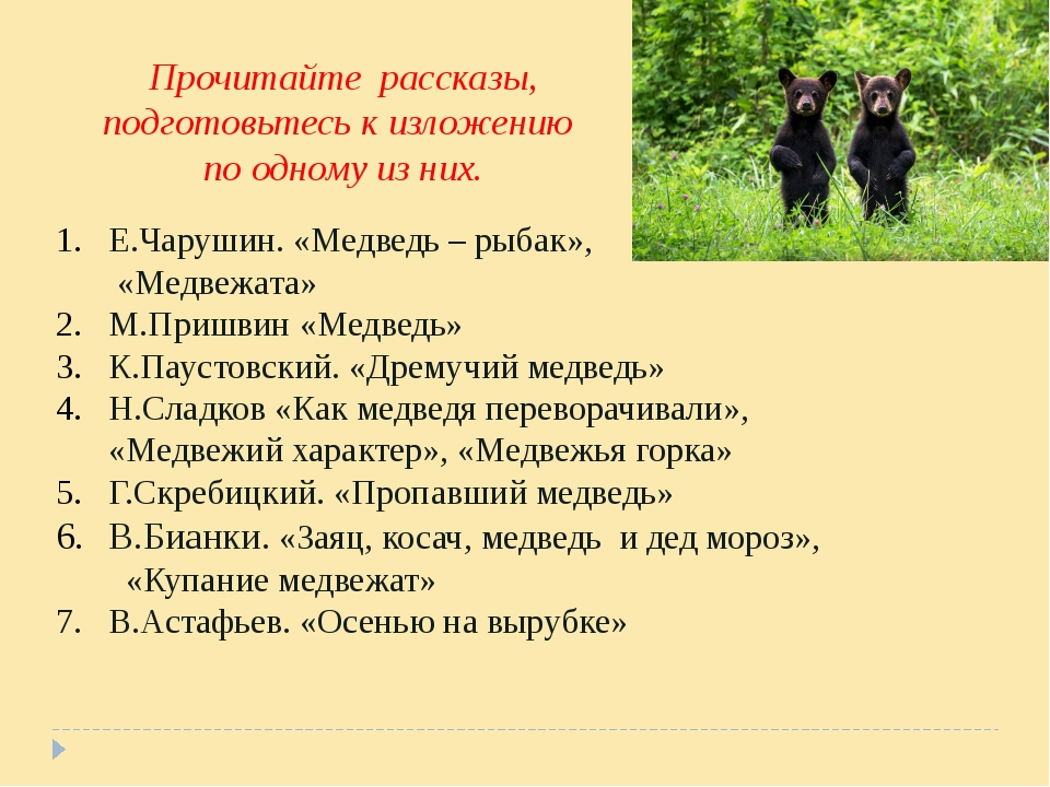 Е.Чарушин. «Медведь – рыбак», «Медвежата» М.Пришвин «Медведь» К.Паустовский....