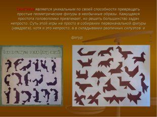 ТАНГРАМ является уникальным по своей способности превращать простые геометрич