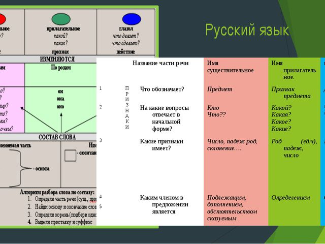 Русский язык Название части речи Имя существительное Имя прилагательное. глаг...