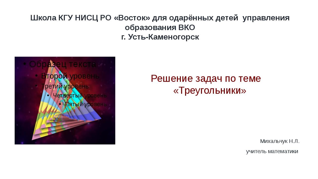 Школа КГУ НИСЦ РО «Восток» для одарённых детей управления образования ВКО г....