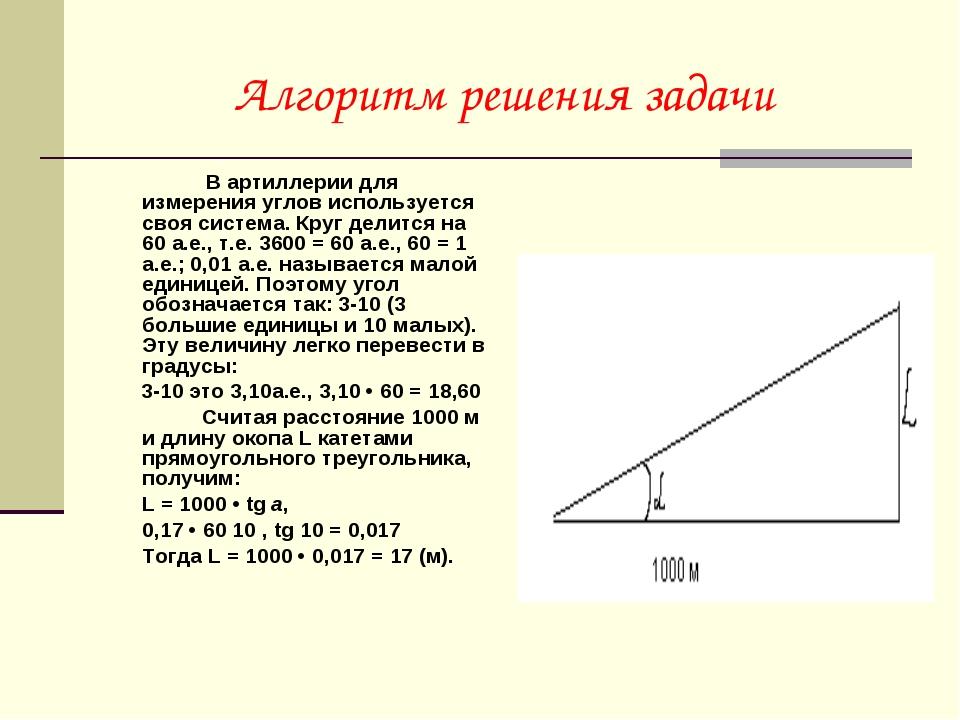 Алгоритм решения задачи  В артиллерии для измерения углов используется своя...