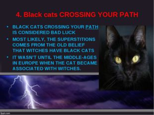 4. Black cats CROSSING YOUR PATH BLACK CATS CROSSING YOUR PATH IS CONSIDERED