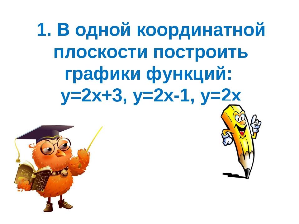 1. В одной координатной плоскости построить графики функций: у=2х+3, у=2х-1,...