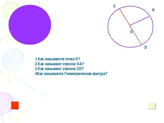 . . О 1.Как называется точка О? 2.Как называют отрезок ОА? 3.Как называют отр...