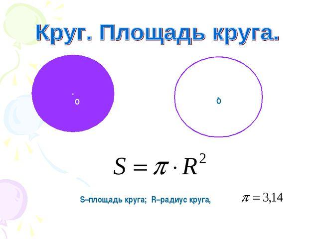 . О . О S–площадь круга; R–радиус круга,