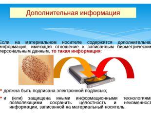 Если на материальном носителе содержится дополнительная информация, имеющая о