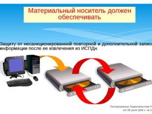 Защиту от несанкционированной повторной и дополнительной записи информации п