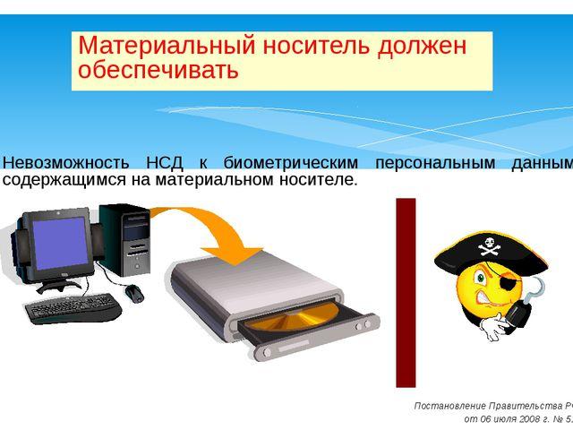 Невозможность НСД к биометрическим персональным данным, содержащимся на матер...