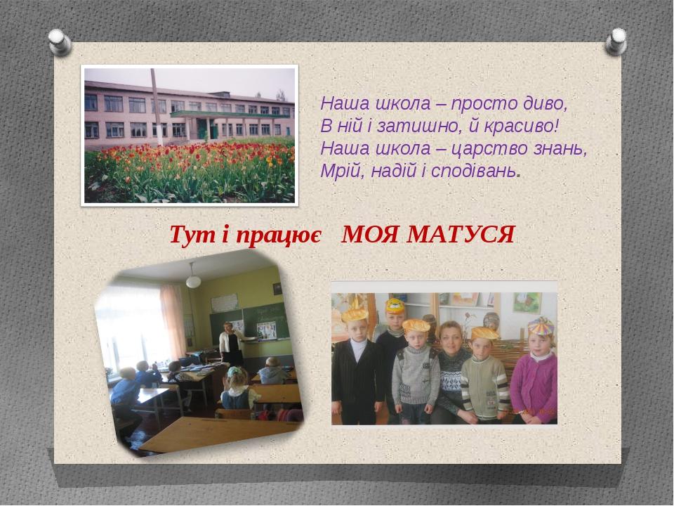 Наша школа – просто диво, В ній і затишно, й красиво! Наша школа – царство зн...