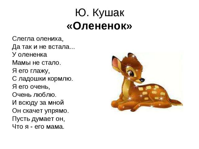 Ю. Кушак «Олененок» Слегла олениха, Да так и не встала... У олененка Мамы не...