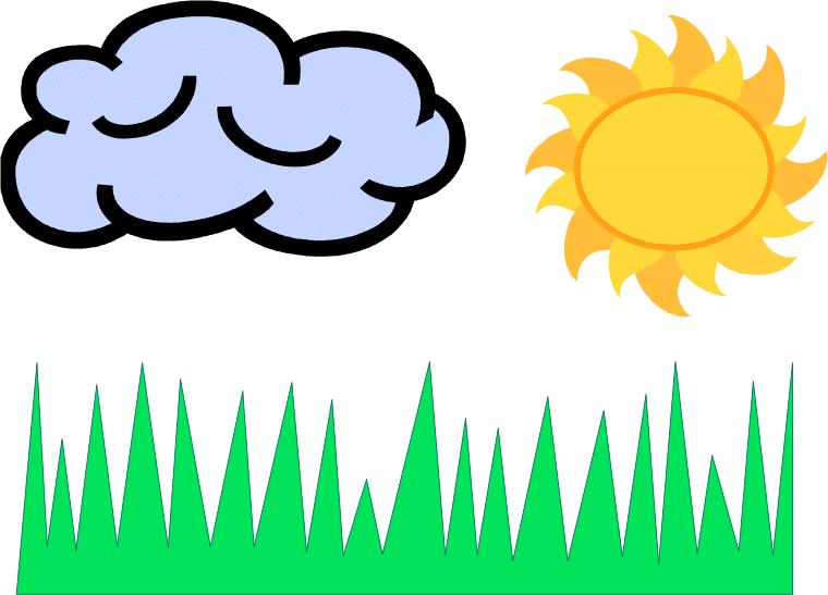 туча, солнце, трава