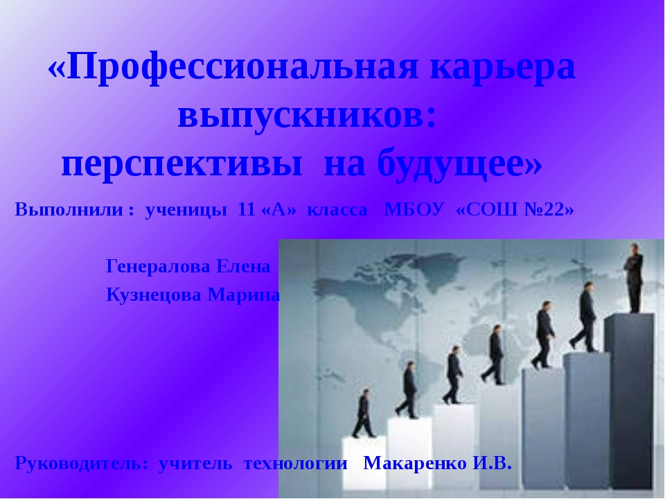 «Профессиональная карьера выпускников: перспективы на будущее» Выполнили : у...