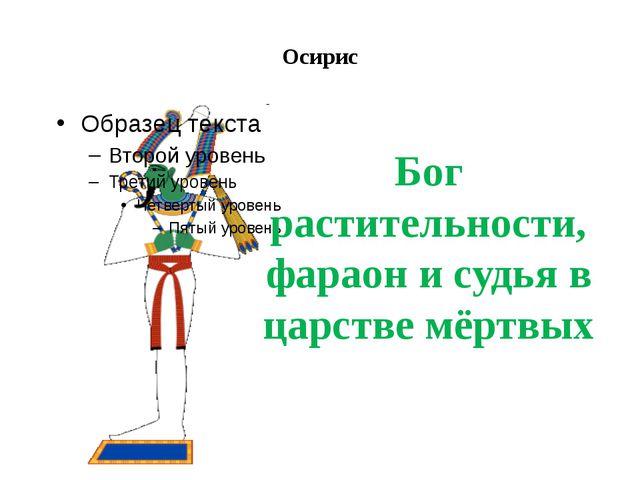 Осирис Бог растительности, фараон и судья в царстве мёртвых