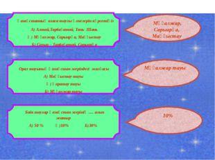 Қазақстанның аласа таулы өлкелерін көрсетіңіз А) Алтай,Тарбағатай, Тянь- Шан