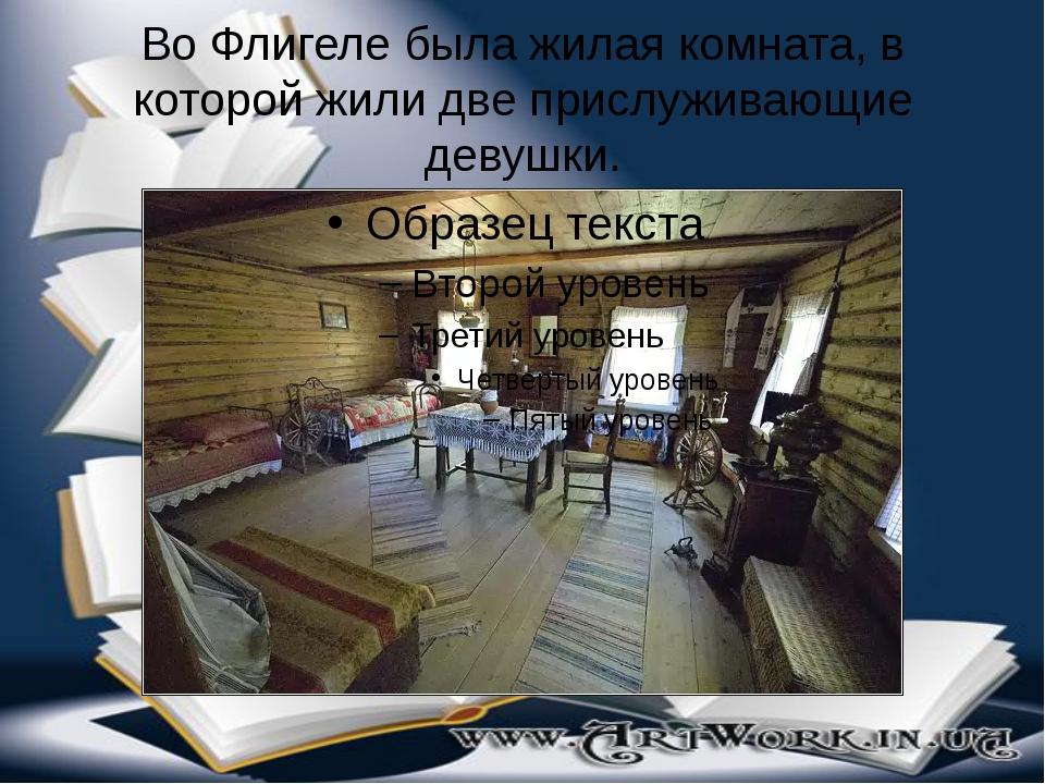 Во Флигеле была жилая комната, в которой жили две прислуживающие девушки.
