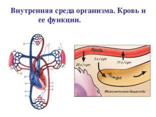 Внутренняя среда организма. Кровь и ее функции.