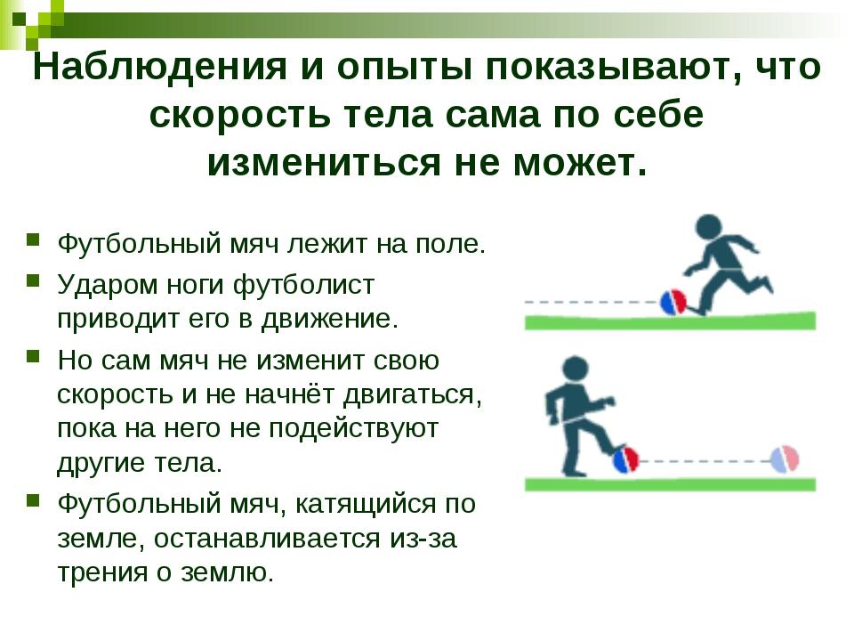 Наблюдения и опыты показывают, что скорость тела сама по себе измениться не м...
