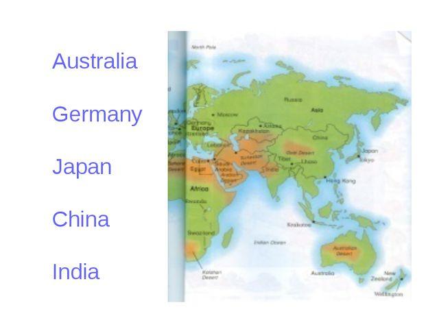 Australia Germany Japan China India