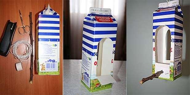 Кормушка для птиц из коробки молока своими руками