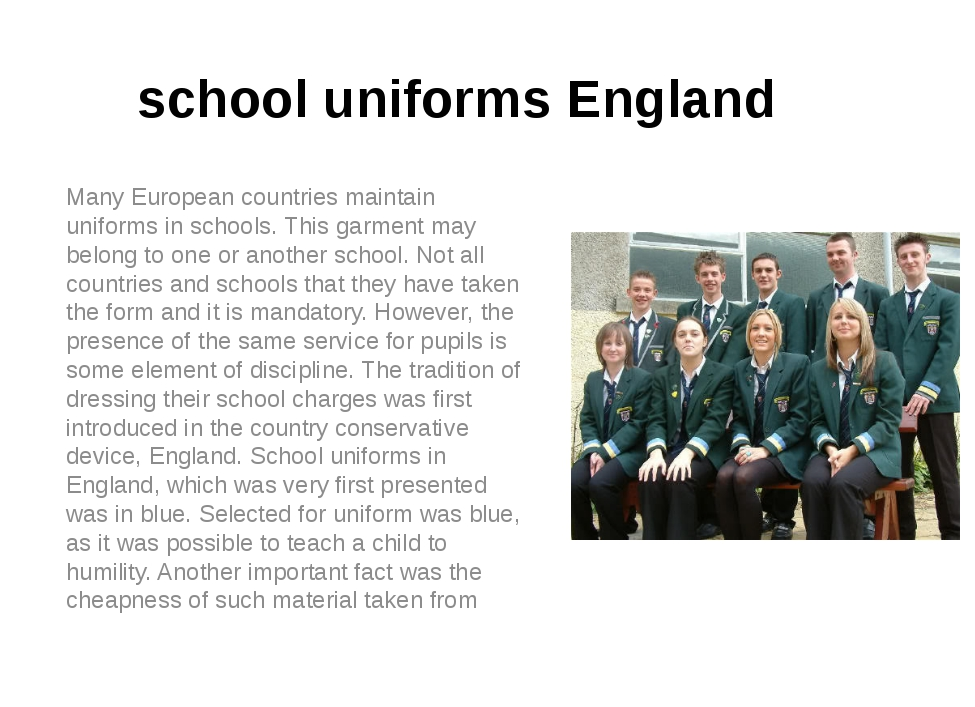 an introduction to the importance of school uniforms in middle schools The average clothing cost per child in schools with a student uniform is markedly less than that in schools without uniforms chosen by each school, school uniforms provide students with a school identity, strengthen school and individual spirit and pride -- not unlike the way an athletic team uniform builds team identity, morale and self-esteem.
