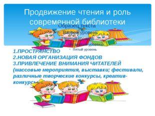 Продвижение чтения и роль современной библиотеки 1.ПРОСТРАНСТВО 2.НОВАЯ ОРГАН