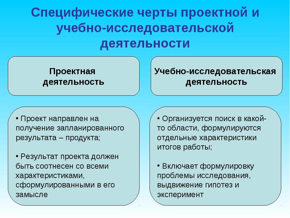 Специфические черты проектной и учебно-исследовательской деятельности Проектн...