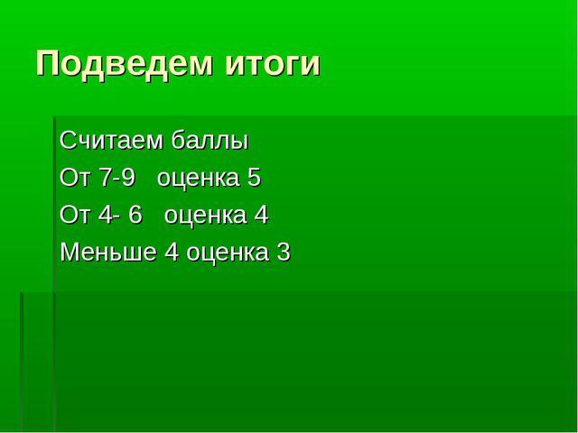 Подведем итоги Считаем баллы От 7-9 оценка 5 От 4- 6 оценка 4 Меньше 4 оценка 3