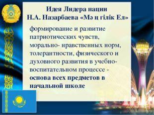 Идея Лидера нации Н.А. Назарбаева «Мәңгілік Ел» формирование и развитие патри