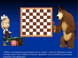 - Миша, а как правильно расположить доску в игре? – спросила Машенька, желая