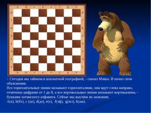 – Сегодня мы займемся шахматной географией, - сказал Миша. И начал свои объяс