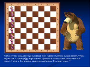 Любая клетка шахматной доски имеет свой «адрес»: Сначала нужно назвать букву
