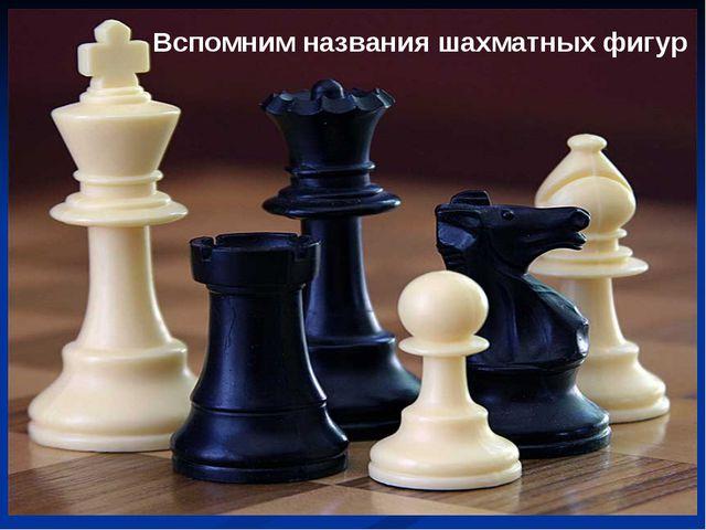 Вспомним названия шахматных фигур