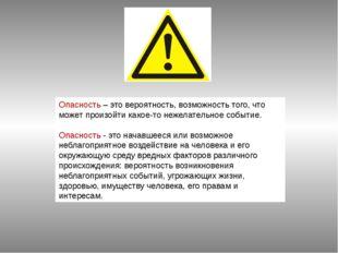 Опасность – это вероятность, возможность того, что может произойти какое-то н
