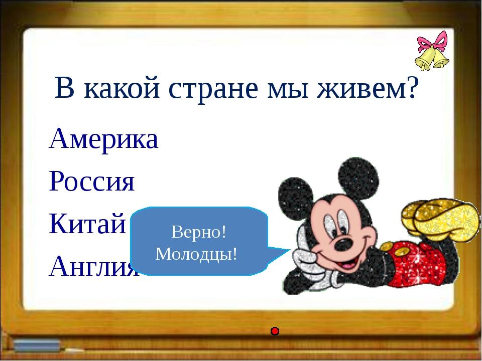 В какой стране мы живем? Америка Россия Китай Англия Верно! Молодцы!