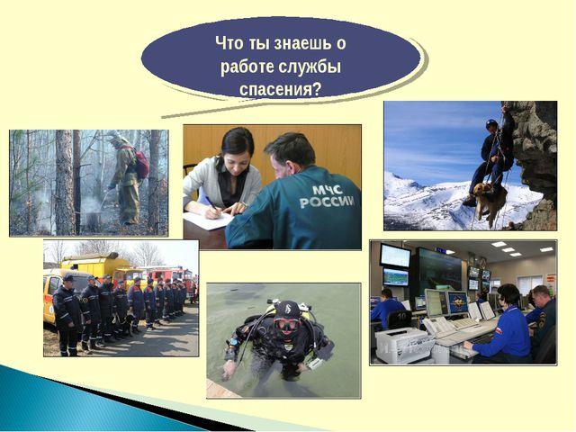 Что ты знаешь о работе службы спасения?