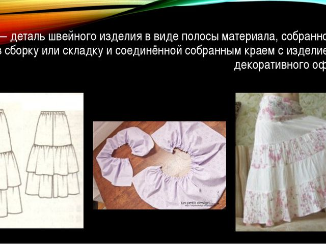 Оборка — деталь швейного изделия в виде полосы материала, собранной с одной с...