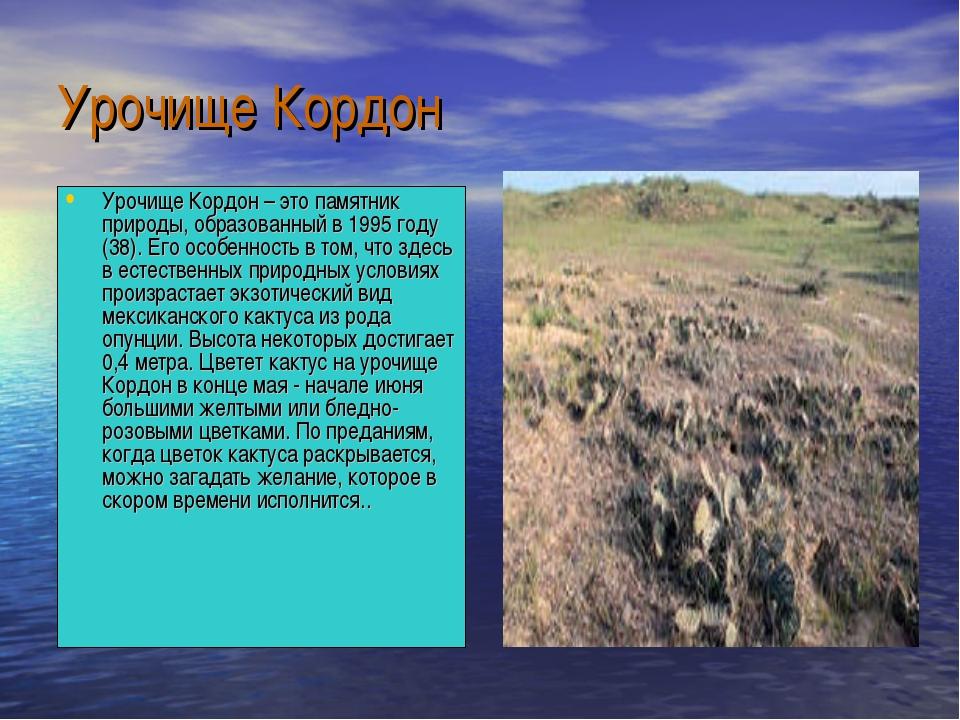 Урочище Кордон Урочище Кордон – это памятник природы, образованный в 1995 год...