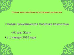 Новая масштабная программа развития Новая Экономическая Политика Казахстана