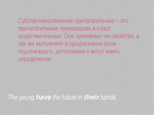 The younghavethe future intheirhands. Субстантивированные прилагательные