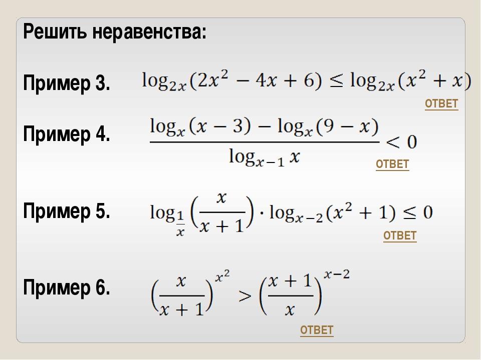 Решить неравенства: Пример 3. Пример 4. Пример 5. Пример 6. ОТВЕТ ОТВЕТ ОТВЕТ...