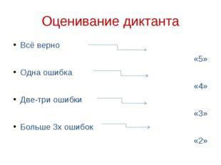 Оценивание диктанта Всё верно «5» Одна ошибка «4» Две-три ошибки «3» Больше 3