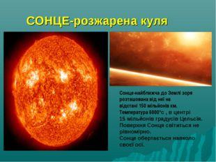 СОНЦЕ-розжарена куля Сонце-найближча до Землі зоря розташована від неї на від