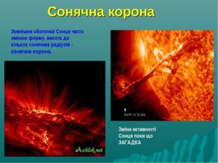 Сонячна корона Зовнішня оболонка Сонця часто змінює форму, висота до кількох
