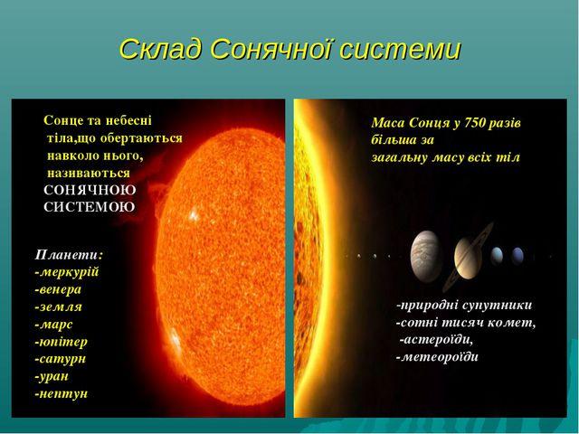 Склад Сонячної системи Сонце та небесні тіла,що обертаються навколо нього, на...