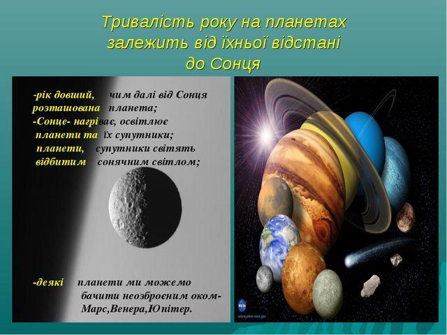 Тривалість року на планетах залежить від їхньої відстані до Сонця -рік довший...