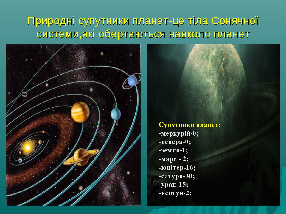 Природні супутники планет-це тіла Сонячної системи,які обертаються навколо пл...