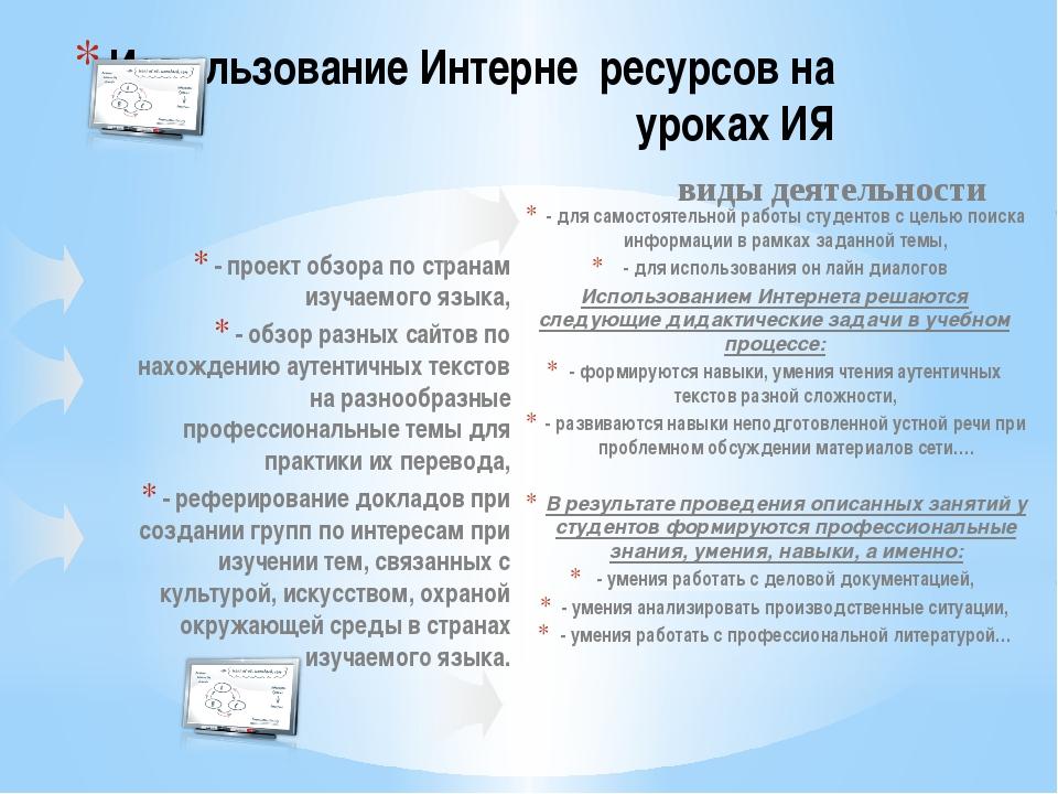 - проект обзора по странам изучаемого языка, - обзор разных сайтов по нахожд...
