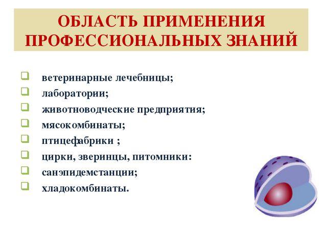 ОБЛАСТЬ ПРИМЕНЕНИЯ ПРОФЕССИОНАЛЬНЫХ ЗНАНИЙ ветеринарные лечебницы; лаборатори...